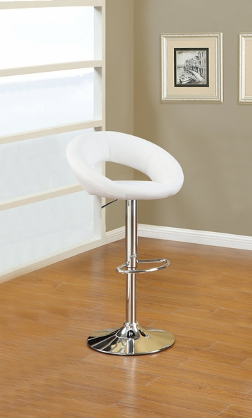 Christelle 2 White Faux Leather/Chrome Metal Bar Stools by Poundex