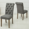 Natalie 2 Grey Linen Fabric Dining Chairs by AC Pacific
