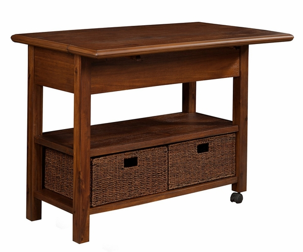 Caldwell Antique Cappuccino Wood Kitchen Cart by Alpine Furniture