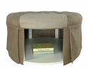 Claes Brown Fabric Ottoman with Open Shelf by Furniture of America