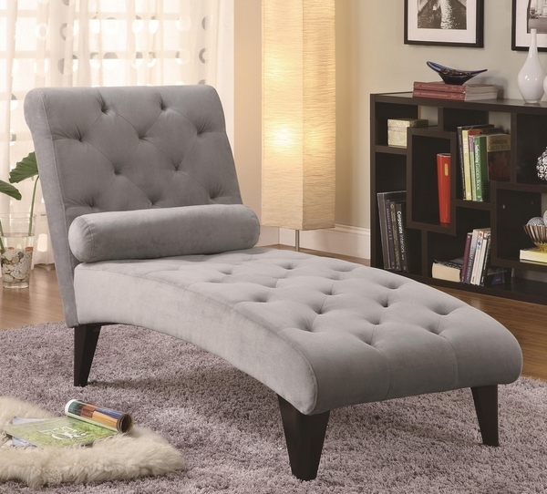 Pierrette Grey Velour Tufted Chaise by Coaster