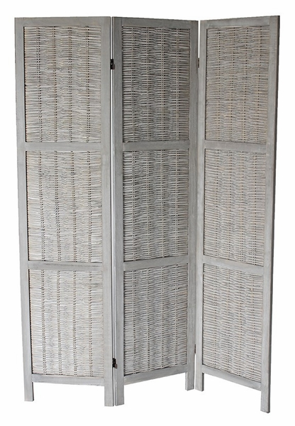 Blake Washed Gray Wood 3-Panel Room Divider by Milton Greens Stars