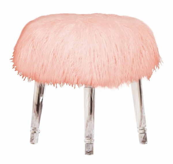 Cosette Pink Fur/Clear Acryl Ottoman by Best Quality Furniture