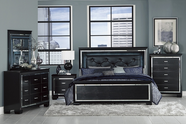 Allura Black Wood Queen Bed with LED Lighting by Homelegance
