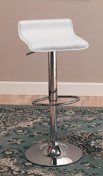 Aiman 2 Chrome Bar Stools w/ White Leatherette Covered Seat by Coaster
