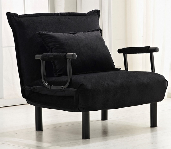 Courtney Black Fabric Convertible Chair by Milton Greens Stars