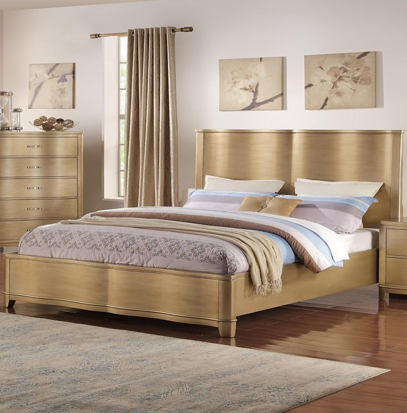 Amarante Champagne Wood Cal King Bed by Poundex