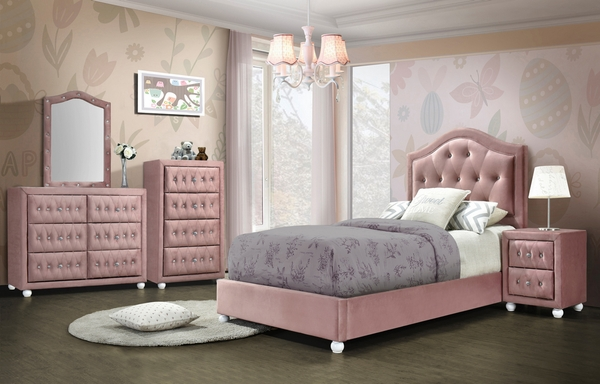 Reggie Pink Fabric Upholstered 4-Drawer Chest by Acme