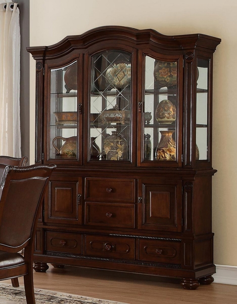 Lordsburg Dark Brown Glass/Wood Buffet with Hutch by Homelegance