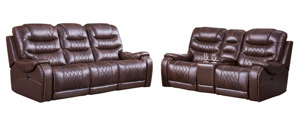 Lesley 2Pc Cherry Power Recliner Sofa Set by McFerran Home Furnishings