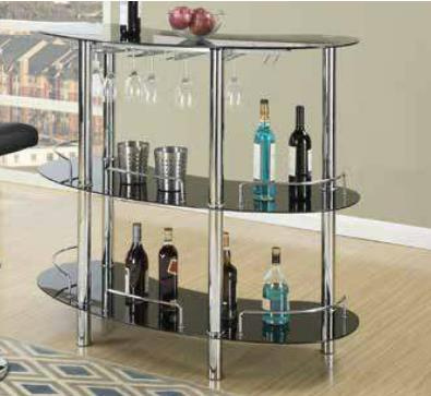 Esme Black Glass/Chrome Metal Bar Stand with 2 Shelves by Poundex
