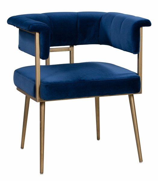 Astrid Navy Velvet/Antique Brass Iron Arm Chair by TOV Furniture