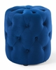 Amour Navy Performance Velvet Round Accent Ottoman by Modway