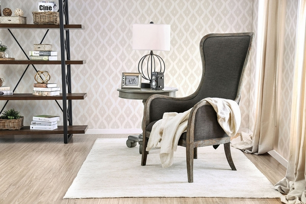 Charlottestown Gray Fabric/Wood Accent Chair by Furniture of America
