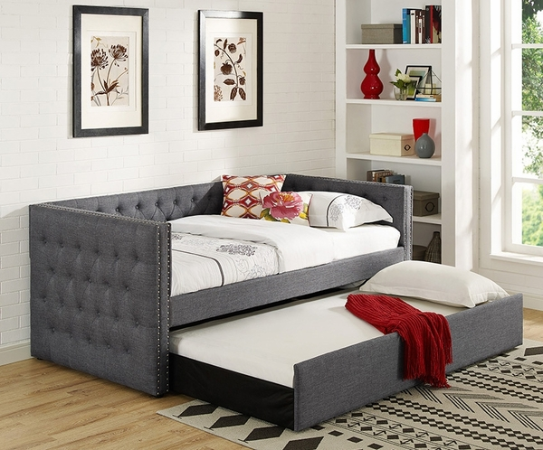 Trina Grey Fabric Twin Daybed with Trundle by Crown Mark