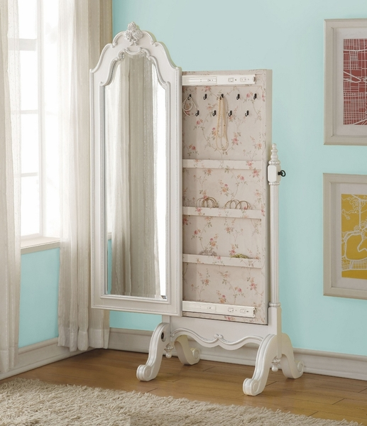 Edalene Pearl White Pine Wood Jewelry Armoire by Acme