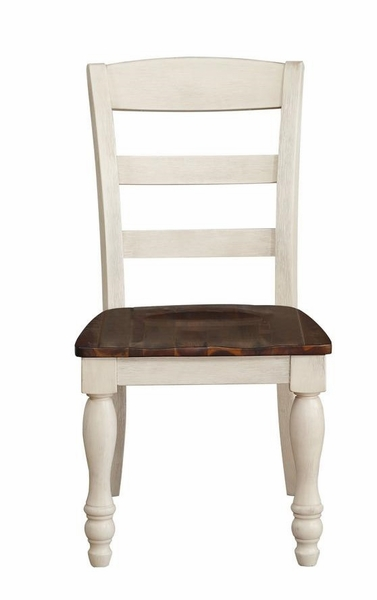 Britta 2 Walnut/White Washed Wood Side Chairs by Acme