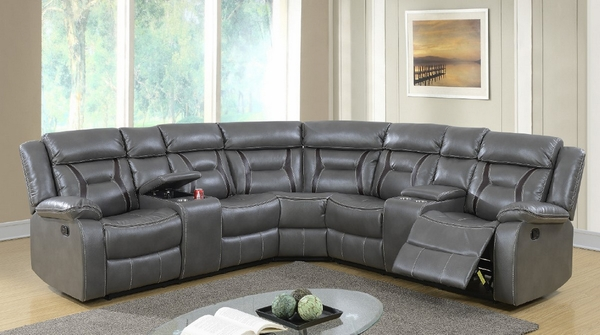 Leona 3-Pc Grey Gel Leatherette Manual Recliner Sectional by Poundex