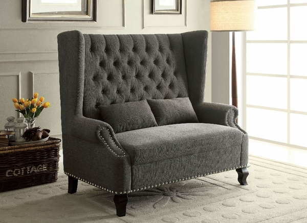 Alcacer Traditional Gray Fabric Loveseat by Furniture of America