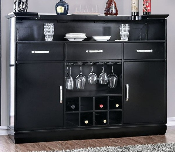 Alena Black Wood Bar Table w/LED Touch Light by Furniture of America