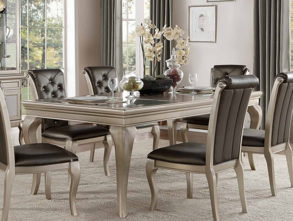 Crawford Eye Catching Silver Extendable Dining Table by Homelegance