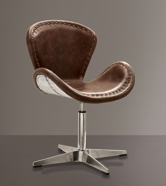 Brancaster Brown Top Grain Leather/Aluminum Office Chair by Acme