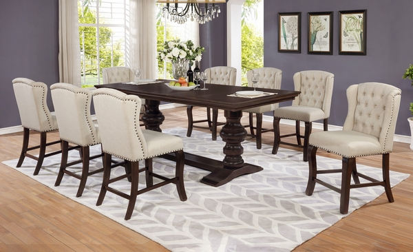 Loreta Cappuccino Wood Counter Height Table by Best Quality Furniture