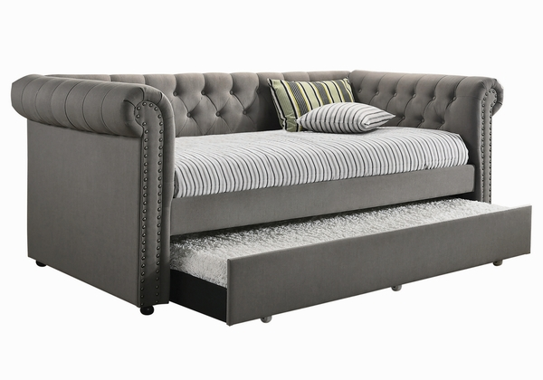 Kepner Grey Fabric Twin Daybed with Trundle by Coaster