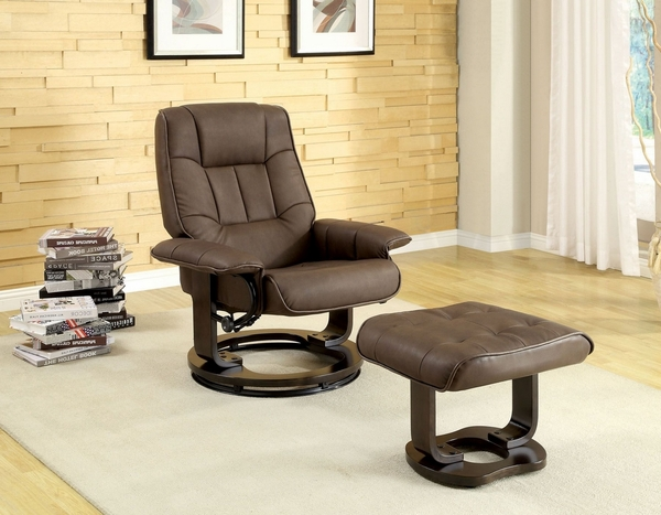 Cheste Manual Recliner Lounger with Ottoman by Furniture of America