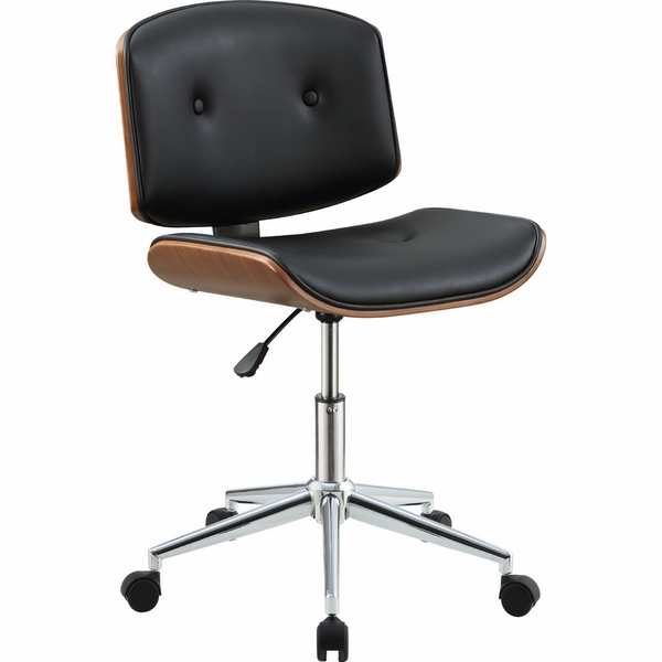 Camila Black/Walnut PU Leather Office Chair with Gas Lift by Acme