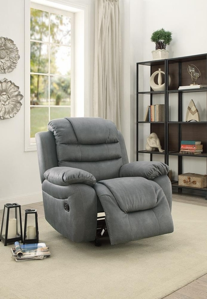 Arianna Slate Grey Leatherette Manual Rocker Recliner by Poundex