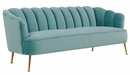Daisy Petite Sea Blue Velvet Channel Tufted Sofa by TOV Furniture