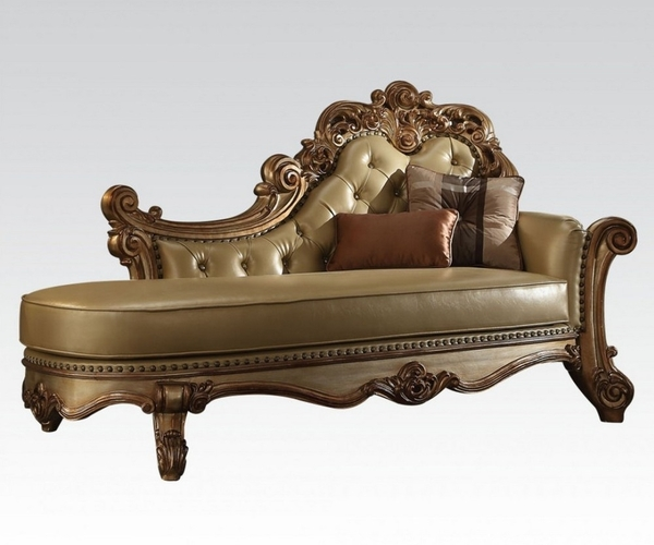 Vendome Bone PU Leather/Gold Patina Chaise with 2 Pillows by Acme