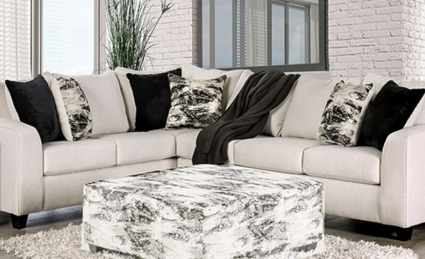 Barnett 2-Pc Ivory Sectional Sofa (Oversized) by Furniture of America