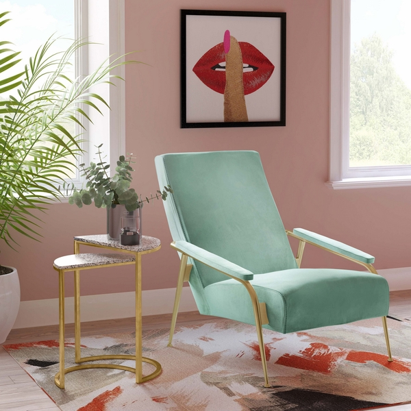 Abbey Mint Green Velvet Accent Chair by TOV Furniture