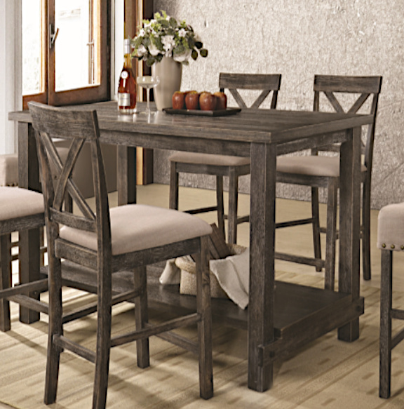 Martha II Weathered Gray Finish Wood Counter Height Table by Acme