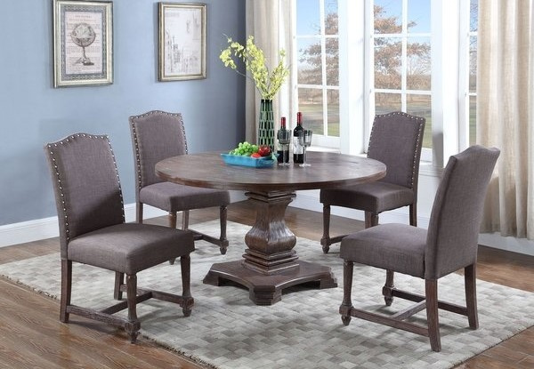 Brittani Brown Wood Round Dining Table by Best Master Furniture