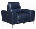 Largo 3-Pc Ink Blue Leather/Vinyl Power Recliner Sofa Set by Coaster