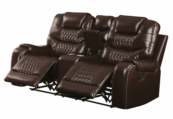 Braylon Brown PU Leather Manual Recliner Loveseat by Acme