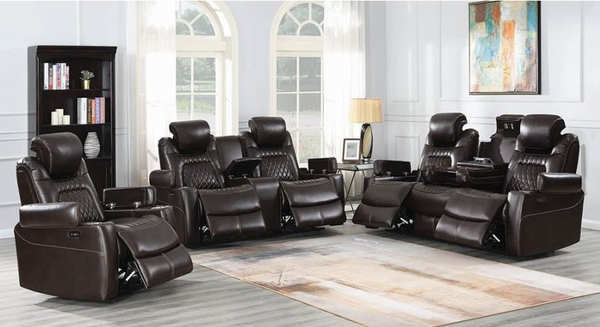 Korbach Espresso Faux Leather 2xPower Recliner Loveseat by Coaster