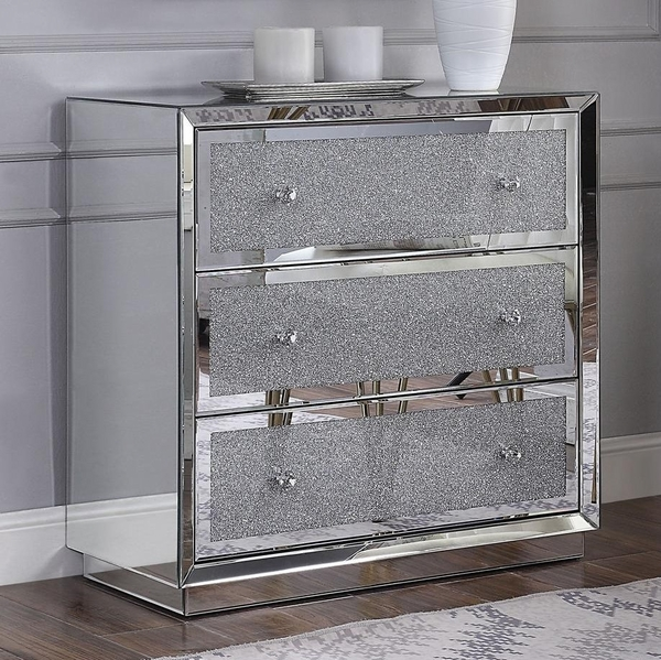 Rekha Mirrored 3-Drawer Cabinet with Faux Crystals Inlay by Acme