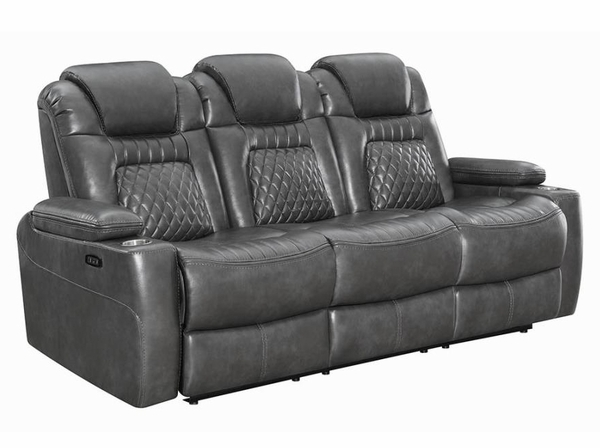 Korbach 3Pc Charcoal Faux Leather 2xPower Recliner Sofa Set by Coaster