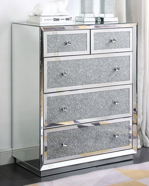 Rekha Mirrored 5-Drawer Cabinet with Faux Crystals Inlay by Acme