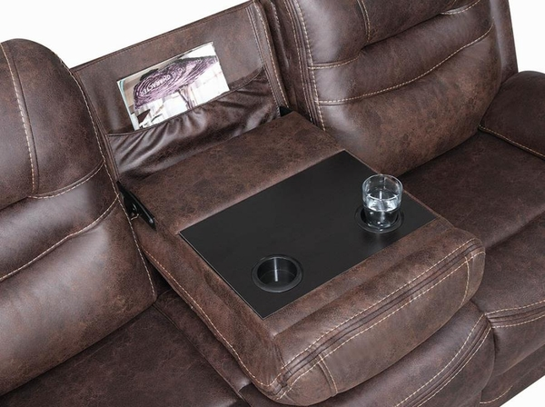 Hemer 2-Pc Chocolate Faux Suede 2xPower Recliner Sofa Set by Coaster