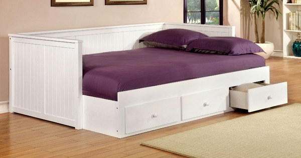 Wolford White Wood Full Daybed with Storage by Furniture of America