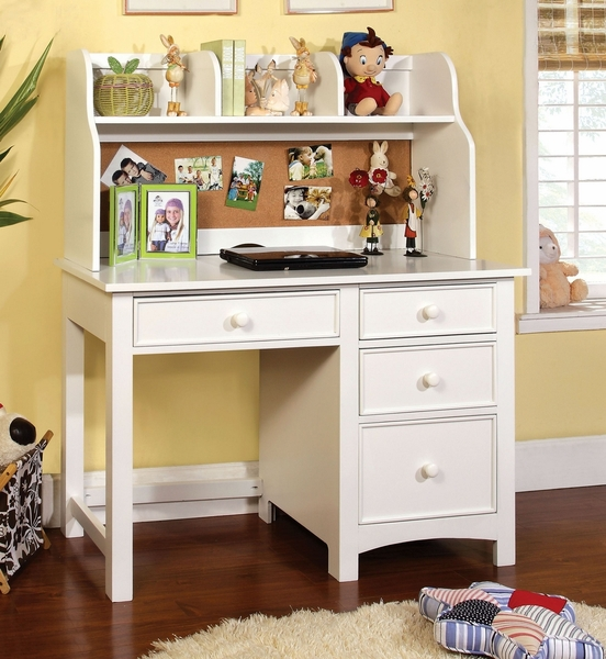 Omnus White Wood Desk with Hutch by Furniture of America