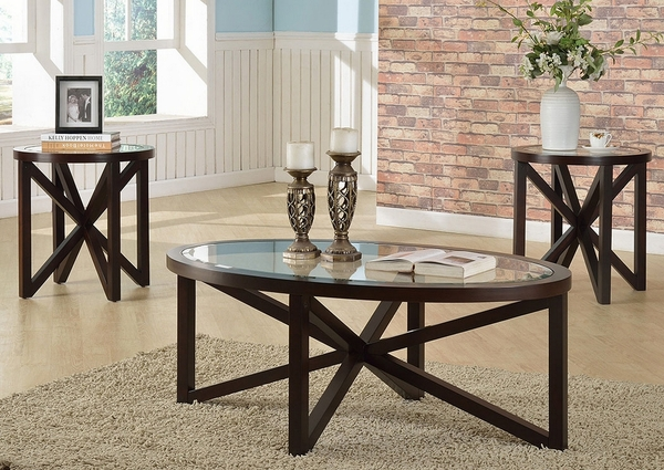 Cole 3-Pc Dark Brown Wood Coffee Table Set w/ Glass Top by Crown Mark