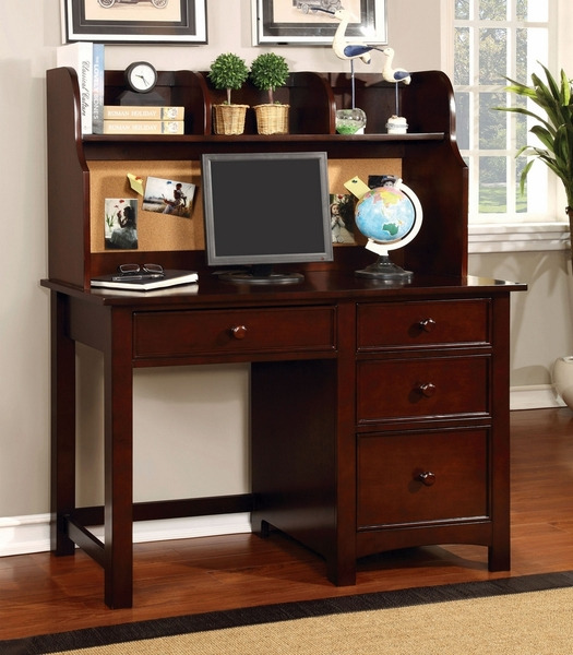 Omnus Cherry Wood Desk with Hutch by Furniture of America