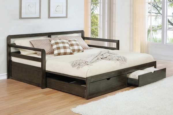 Sorrento Grey Wood Twin Daybed with Extension Trundle by Coaster