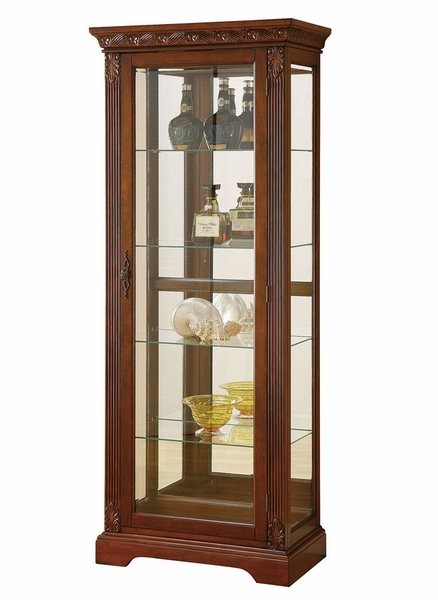 Addy Cherry Wood/Glass Curio Cabinet w/ Light & Back Mirror by Acme